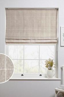 Natural Windowpane Check Roman Blind