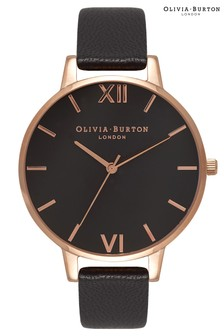 Olivia Burton Glitter Dial Black & Rose Gold With Classic Chain Bracelet Rose Gold Watch