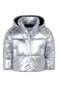 Girls Silver Padded Jacket