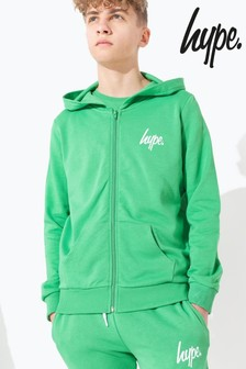 Hype. Green Mini Script Kids Zip Through Hoody