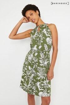 Warehouse Green Jungle Print Halter Mini Dress