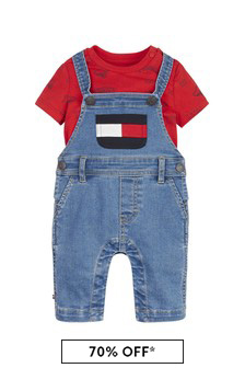 Tommy Hilfiger Baby Blue Cotton T-Shirt And Dungaree Set