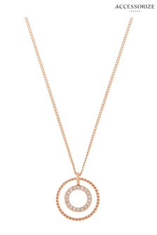 Accessorize Rose Gold Plated Sparkle Pendant Necklace