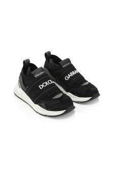 Dolce & Gabbana Kids Dolce & Gabbana Baby Boys Black Leather Trainers