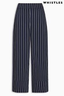Whistles Navy Striped Wide Leg Trouser