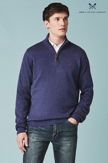 Crew Clothing Company Blue Classic 1/2 Zip Knit Jumper