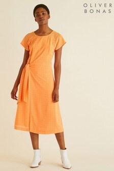 Oliver Bonas Checked Side Tie Midi Dress