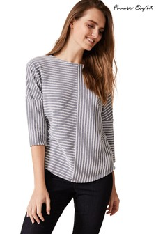 Phase Eight Blue Tess Textured Stripe Top