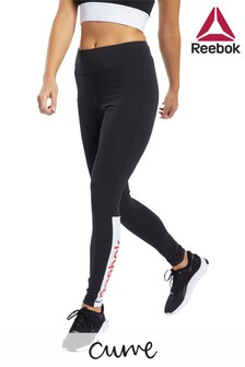 Reebok Curve Black Linear Logo Leggings