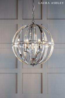 Laura Ashley Aidan Glass Polished Chrome 5 Light Globe Chandelier