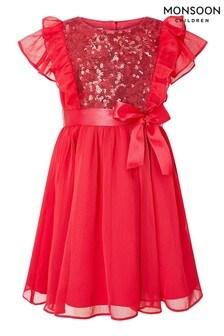 Monsoon Red Sequin Chiffon Dress