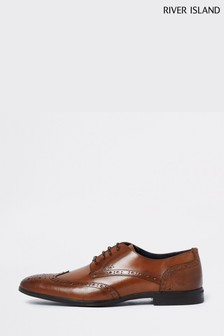 River Island Brown Lace-Up Brogue Derby Shoes