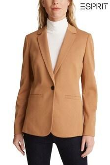 Esprit Camel Regular Jersey Woven Blazer