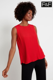 F&F Red Plissé Shell Top