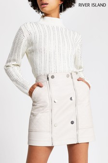 River Island Bone Quilted Mini Skirt