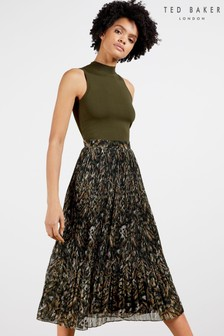 Ted Baker Lemmie Urban Printed Pleated Mockable Dress