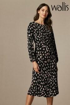 Wallis Black Floral Jersey Midi Dress
