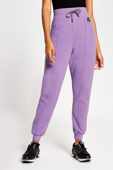 River Island Purple Light Washed Branded Joggers