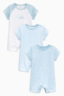 Cloud Print Rompers Three Pack (0mths-2yrs)