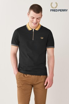 Fred Perry Black Zip Neck Polo Shirt