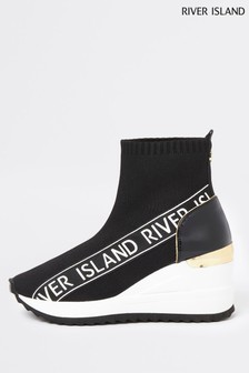 River Island Black Sock Knit Ankle Wedge Shoe Boots