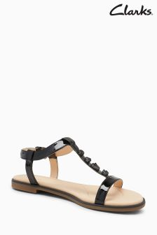 Clarks Black Bay Blossom Embellished T-Bar Sandal