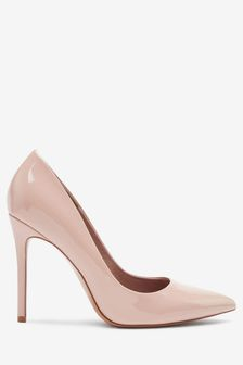 Coral / Pink suedette pointy toe court shoes with gold glitter heel zKlPjR
