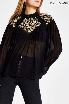 River Island Black High Neck Beaded Embroidery Blouse