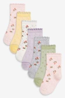 7 Pack Floral Ankle Socks