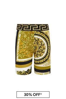 Versace Boys Gold Cotton Shorts