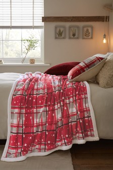 Red Fleece Check Throw With Sherpa Reverse