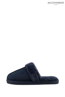 Accessorize Blue Real Suede Mule Slippers