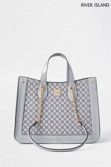 River Island Grey 3946 Chain Handle Shopper Bag