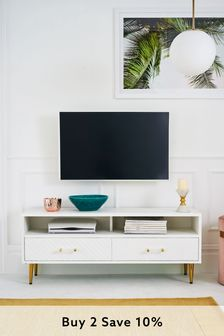White Textured Painted Wide TV Stand