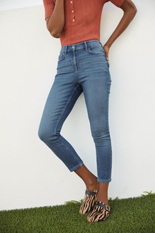 Super Soft Elasticated Waist Cropped Skinny Jeans