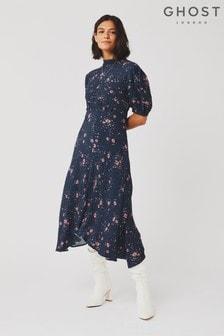 Ghost London Blue Jenna Santana Daisy Printed Crepe Dress