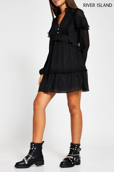River Island Black Dobby Frill Trim Mini Dress