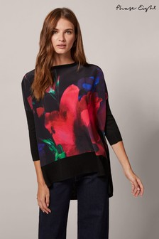 Phase Eight Black Flora Floral Woven Print Knitted Jumper