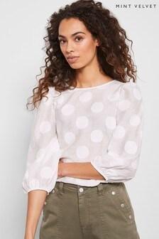 Mint Velvet White Jacquard Volume Sleeve Top