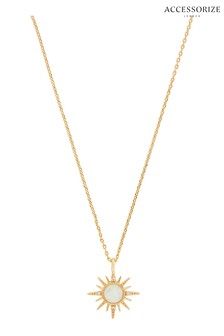 Accessorize Gold Plated Starburst Opal Necklace