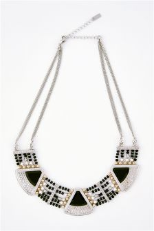 Beaded Statement Short Necklace