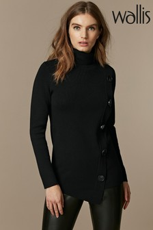 Wallis Black Button Wrap Jumper