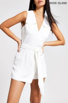 River Island White Ralfie Wrap Playsuit