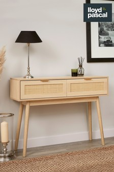 Light Rattan 2 Drawer Console Table By Lloyd Pascal