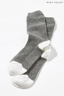 Mint Velvet Grey Charcoal Stripe Back Socks