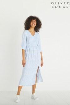 Oliver Bonas Blue Two Tone Bloom Floral Print Midi Dress