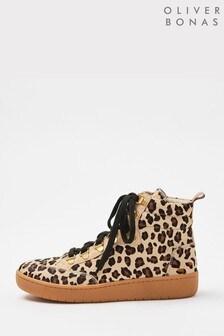 Oliver Bonas Animal Print Brown Hiking Boots