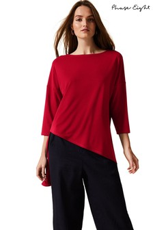 Phase Eight Red Lucetta Asymmetric Longline Top