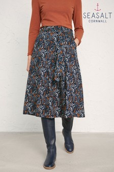 Seasalt Blue Chalked Floral Dark Night Moorcroft Skirt