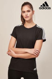 adidas Black Essential 3 Stripe Slim Tee